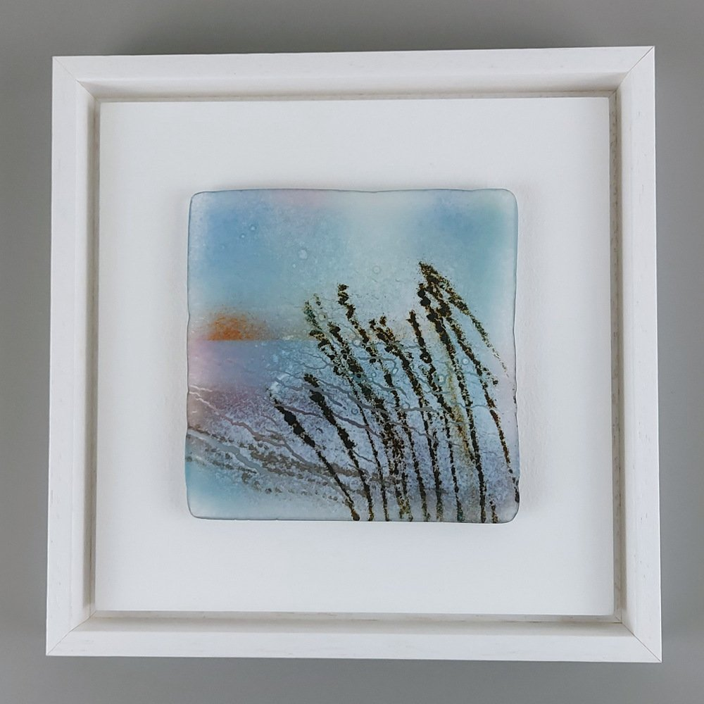 Helen Smith Glass - Grasses, 24cm sq framed fused glass wall art