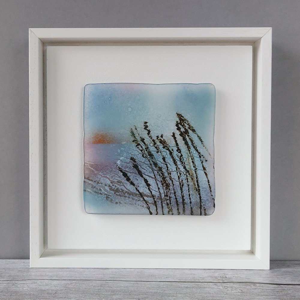Helen Smith Glass - Grasses framed fused glass wall art