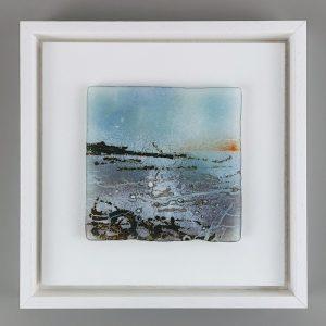 Helen Smith Glass - Island, Rocks, 24cm sq framed fused glass wall art