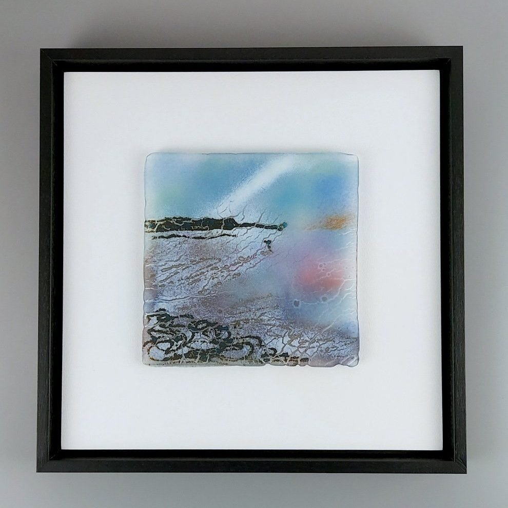 Helen Smith Glass - Island, evening tide, 34cm sq fused glass wall art