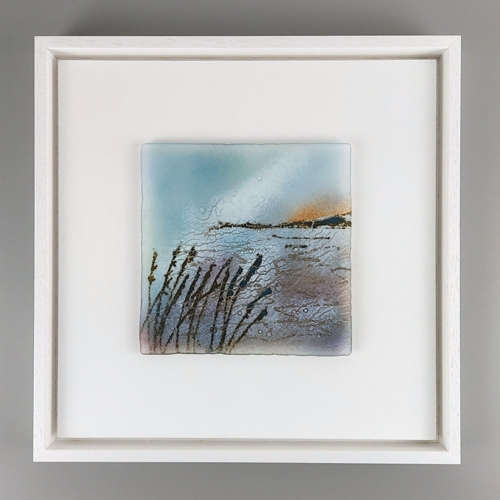 Helen Smith Glass - Island, grasses, 34cm sq fused glass wall art