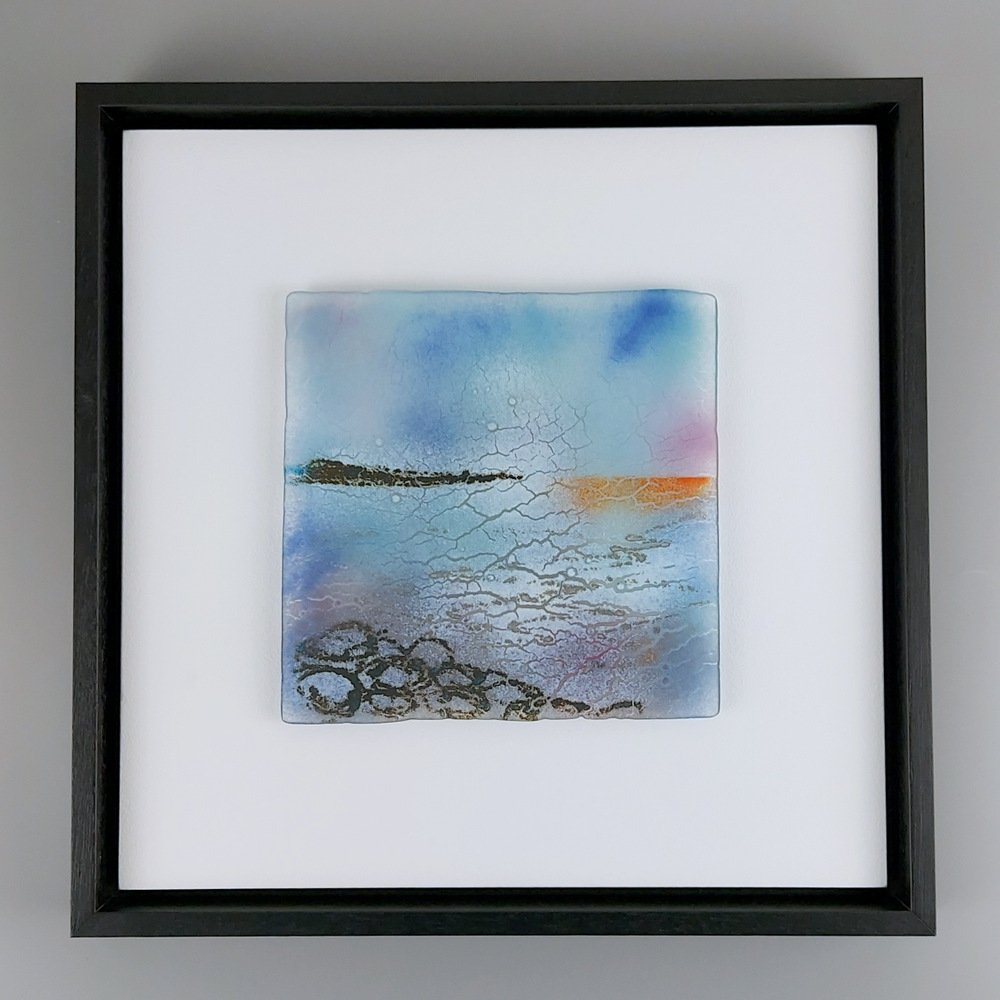 Helen Smith Glass - Island, red reflection, 34cm sq fused glass wall art