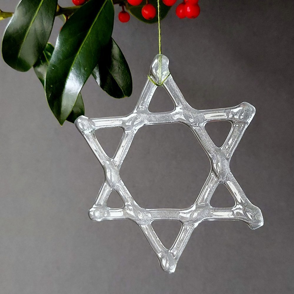 Helen Smith Glass, Recycled Glass Star of David Christmas Decoration