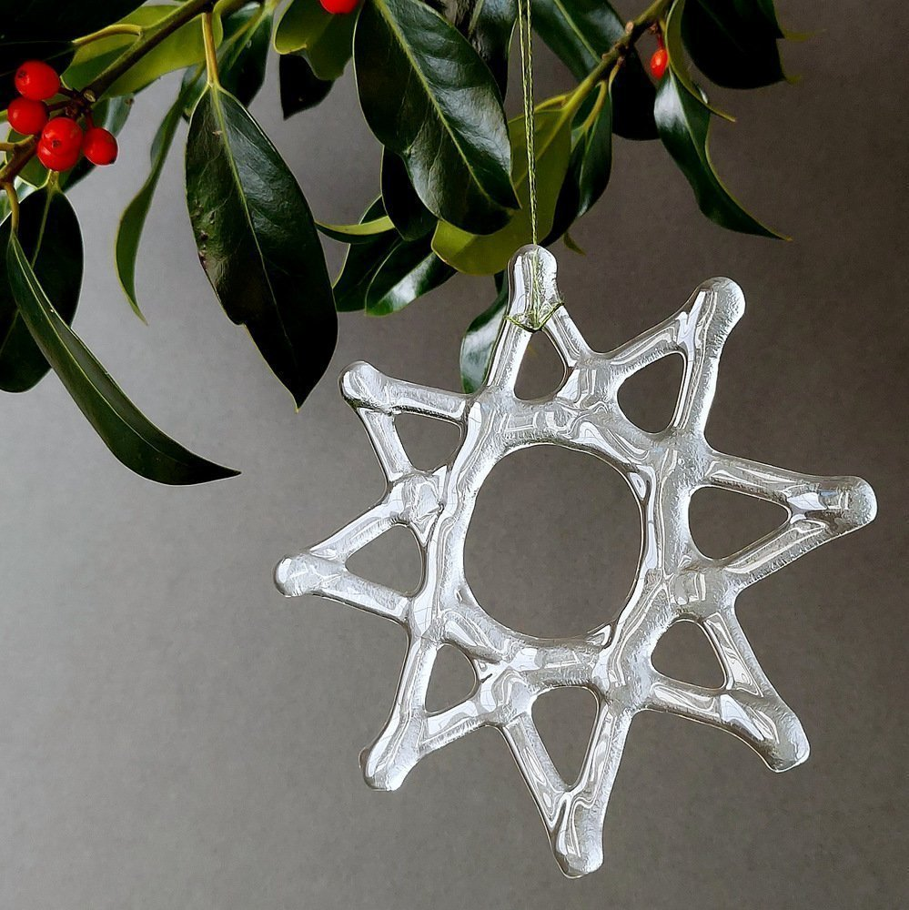 Helen Smith Glass, Recycled Glass 8 point Star Christmas Decoration