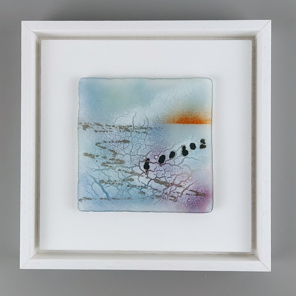 Helen Smith Glass - Red sky, posts, 24cm sq framed fused glass wall art