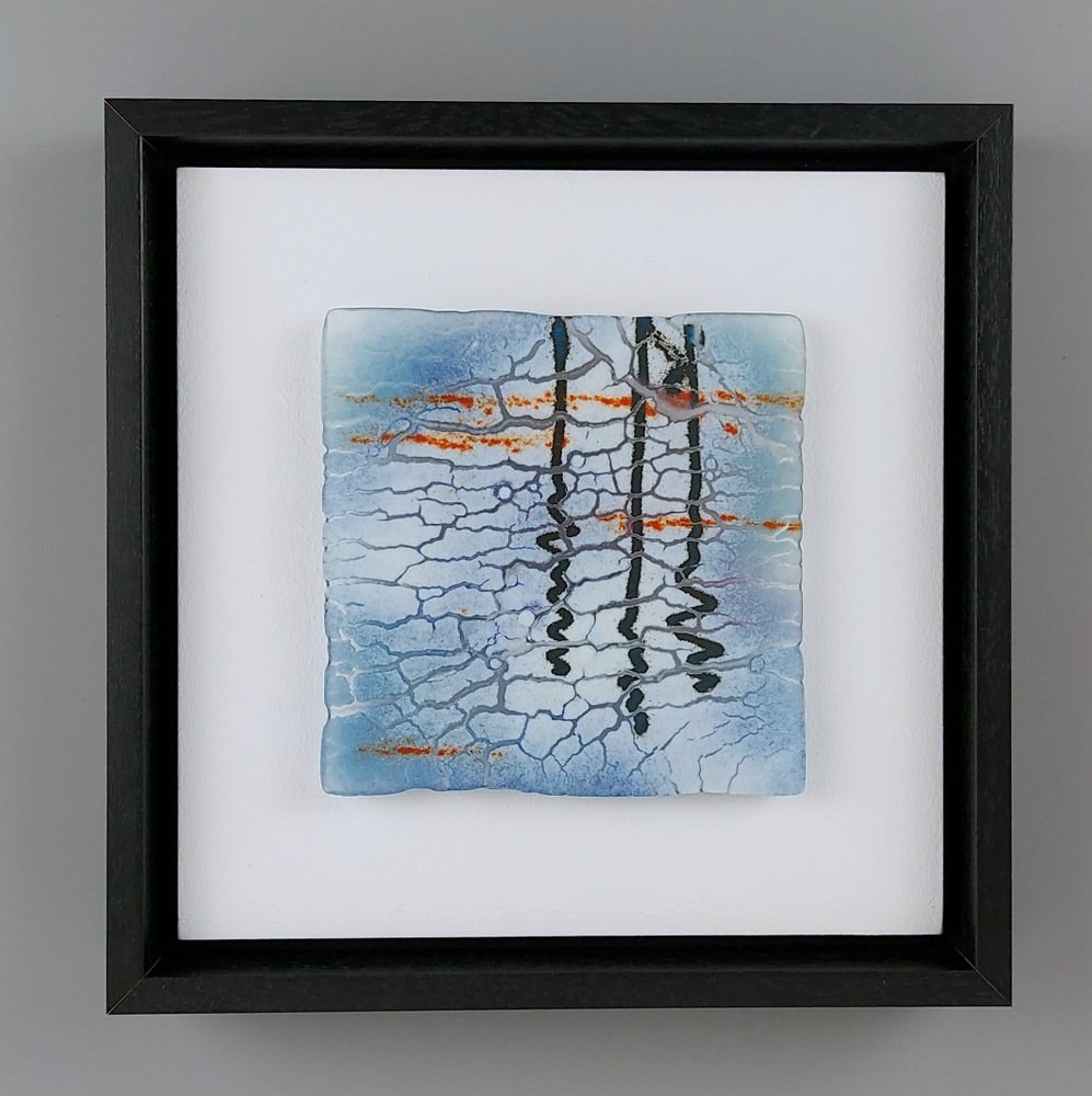 Helen Smith Glass - Reflecting I, 24cm sq framed fused glass wall art