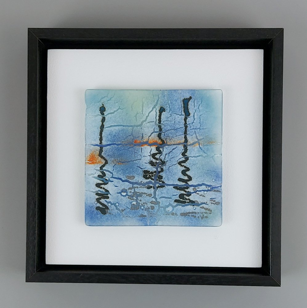 Helen Smith Glass - Reflecting II, 24cm sq framed fused glass wall art