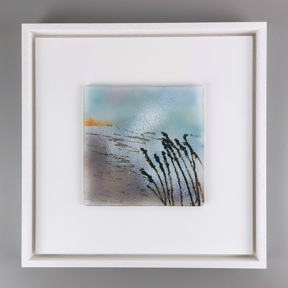 Helen Smith Glass - Tall grasses, 34cm sq fused glass wall art