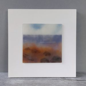 Helen Smith Glass, Shore Study Rocks 1, fused glass wall art landscape